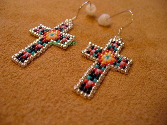 Native American Style loom beaded Cross Earrings, measuring 3/4 inch wide by just shy of 1 1/2 inches tall, they have Sterling Silver earring wires
