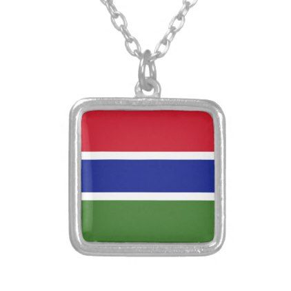 Gambia Flag Silver Plated Necklace - jewelry jewellery unique special diy gift present