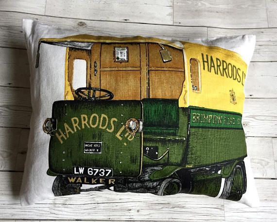 Gift-For-Him Harrods Vintage Tea Towel Souvenir Cushion #souveniroflondon, #harrods, #giftideas, #christmasgifts , #giftforman, #homedecor, #christmasgift