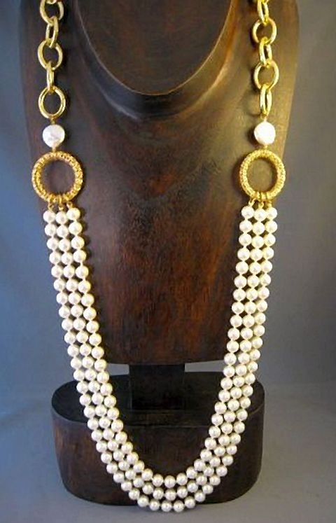 PEARLFECION |                                                Long pearl statement necklace