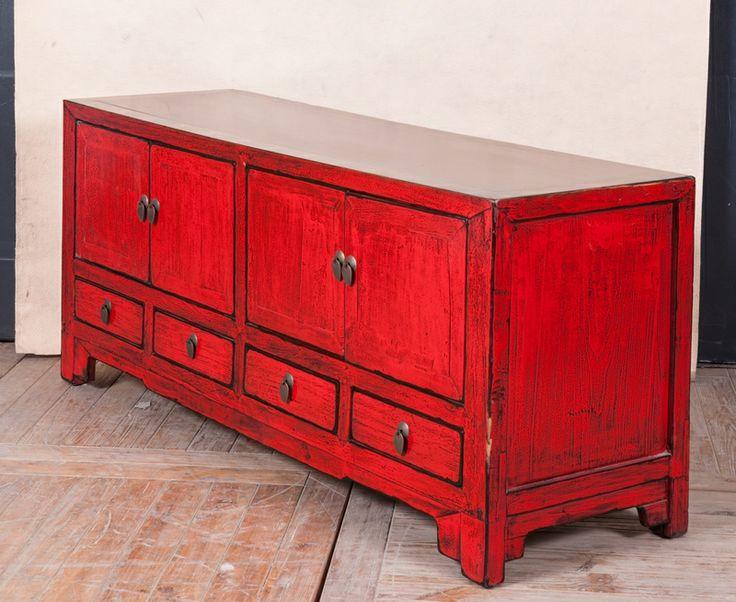 Meuble en rouge salon pinterest meubles rouge et for Pinterest meubles peints