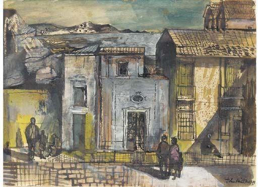 John Minton - A Village in Corsica on MutualArt.com