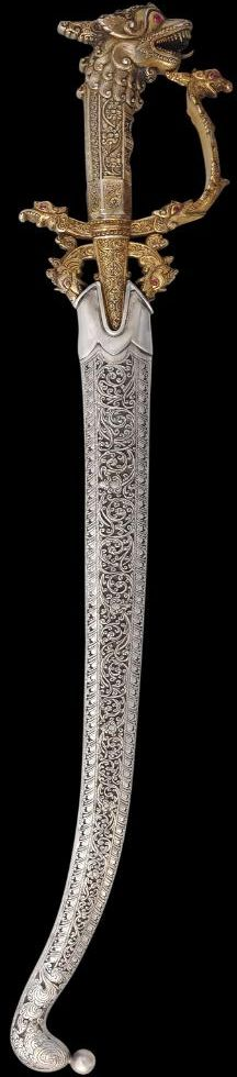 Silver & Gilt Kasthane Sword set with Red Stones Sri Lanka 19th century.