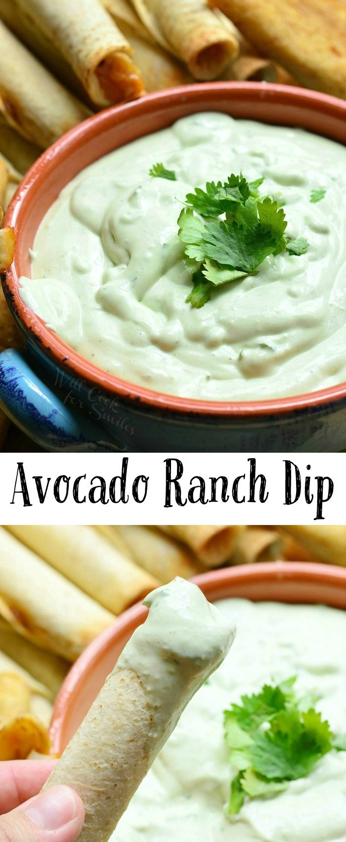 Avocado Ranch Dip | from willcookforsmiles.com #appetizer #gameday #snack