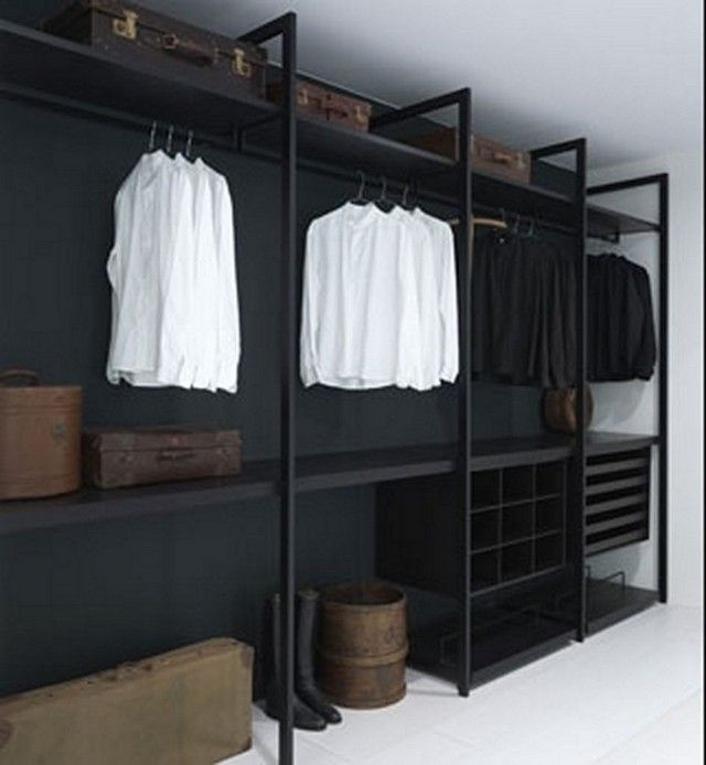 Modern Simple Black Walk In Closet Organizers Systems By