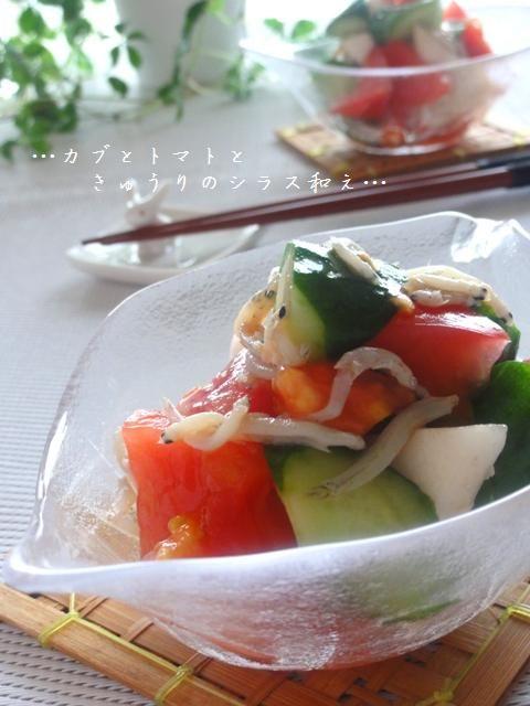 カブとトマトときゅうりのしらす和え。   美肌レシピ