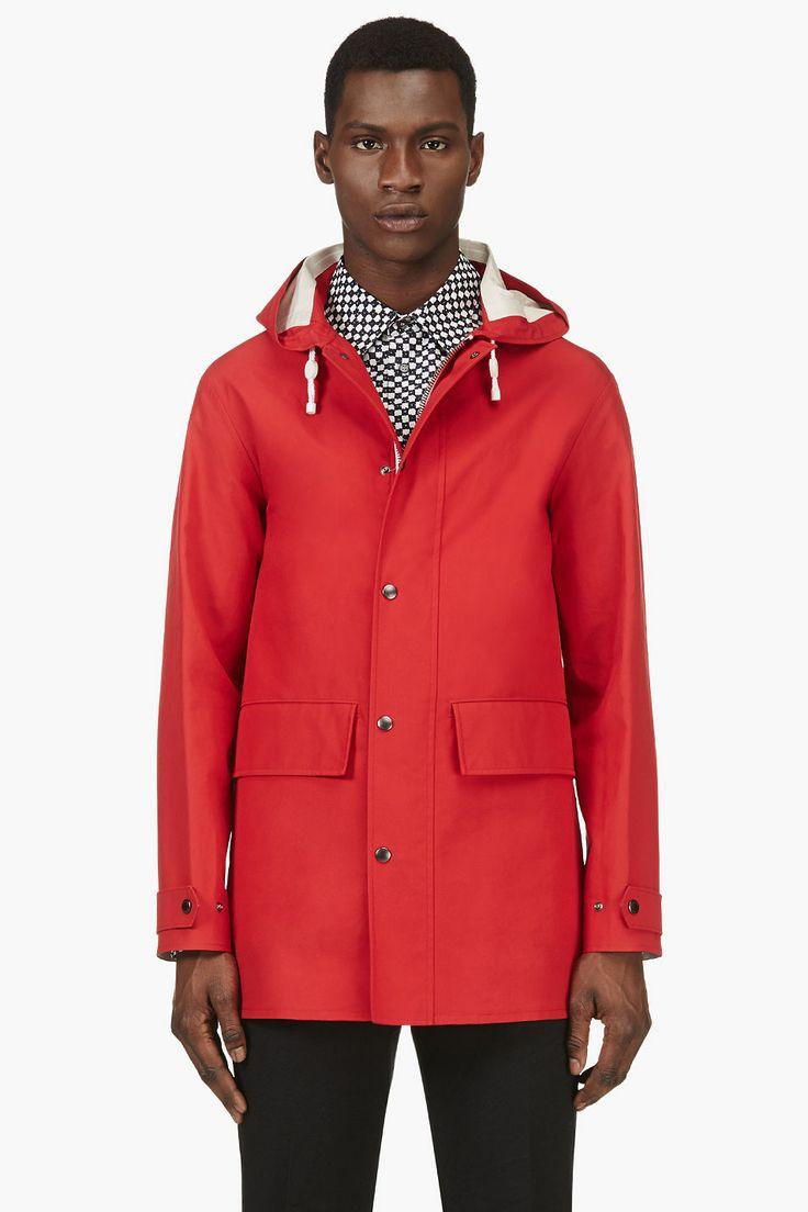 BURBERRY PRORSUM Red Hooded Rain Coat