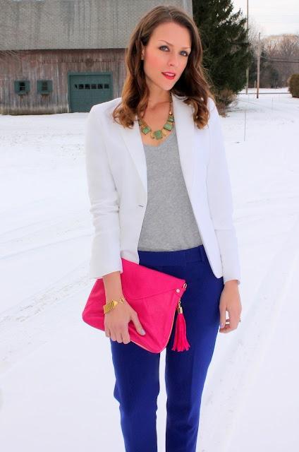 Cobalt pants + pink clutch