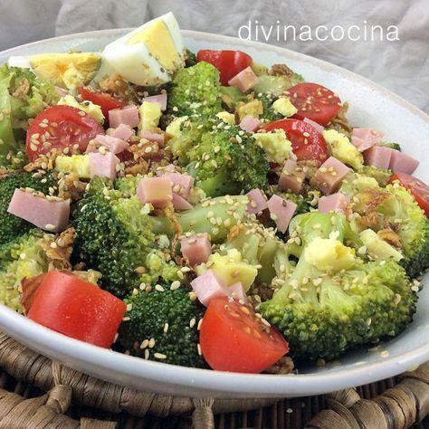 Ensalada de brócoli, jamón y queso