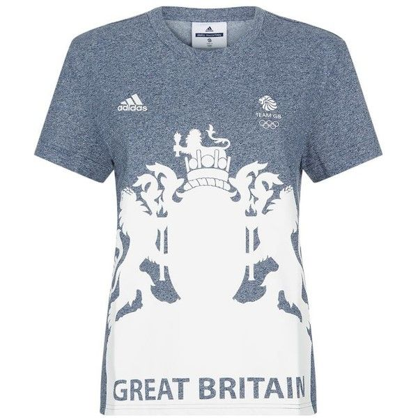 Adidas By Stella McCartney Team GB Crest T-Shirt ($39) ❤ liked on Polyvore featuring tops, t-shirts, white tee, round neck t shirt, adidas originals tee, lion t shirt and lion tee