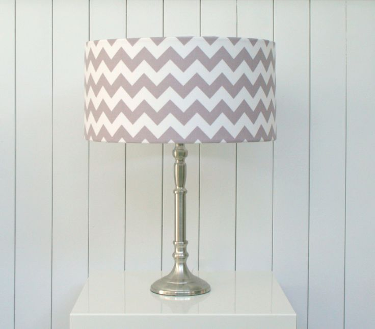 Material Lamp Shades: Large grey and white chevron fabric lampshade - pendant ceiling, or table  or floor lamp,Lighting