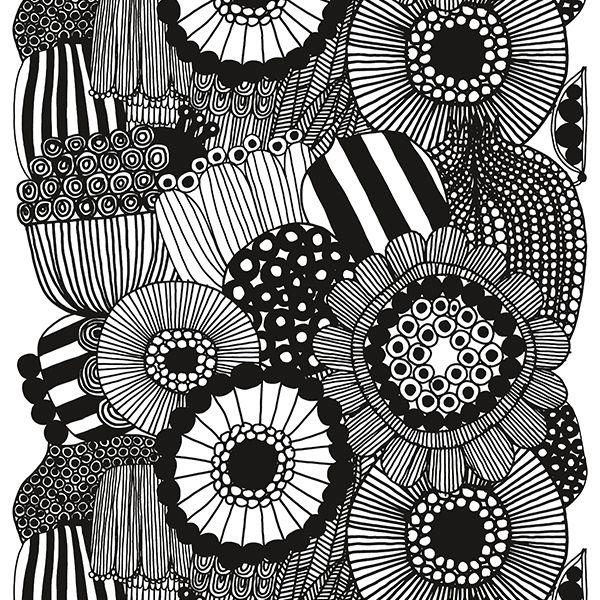 Siirtolapuutarha fabric, black - white
