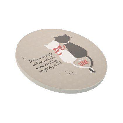 Cats in Love Sandstone Coaster - anniversary gifts ideas diy celebration cyo unique