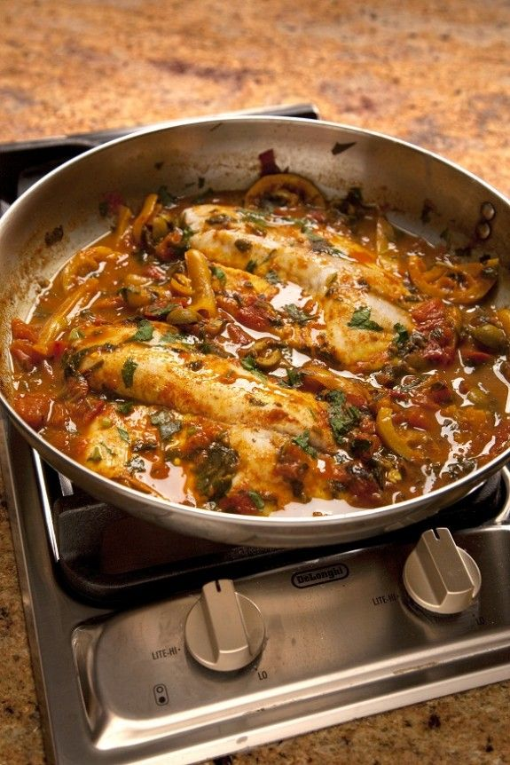 Chraimi Fish - an Israeli recipe attributed to Morocco. All I know is that it sounds delicious.