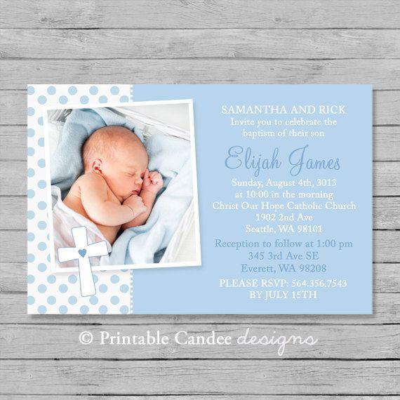 Azul bautismo o bautizo invitación - DIY Custom imprimible