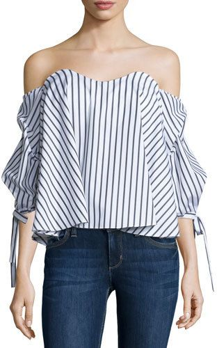 Caroline Constas Gabriella Off-The-Shoulder Striped Bustier Top