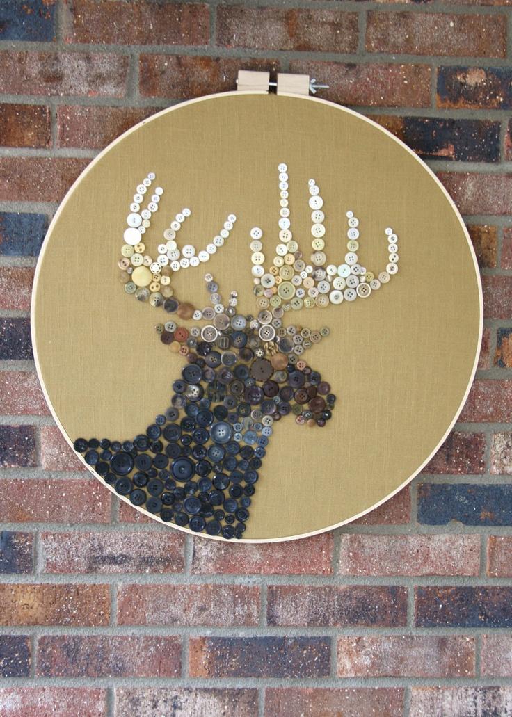 Vintage Button Deer Silhouette Art