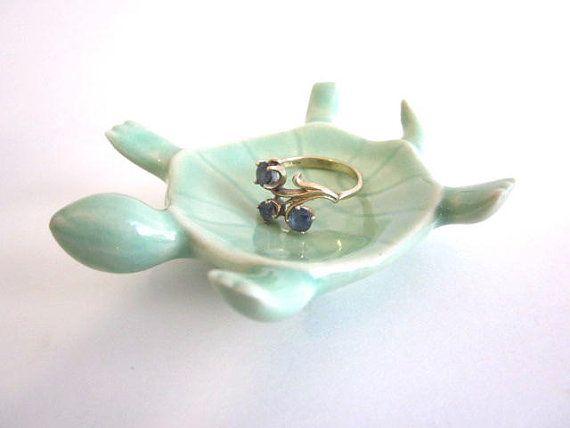 Handmade mint green turtle teabag holder ring dish trinket dish ring holder miniature  bridal shower favor
