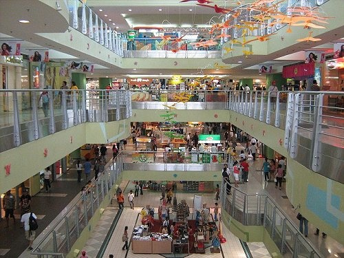 large malls, one of which is the SM (Super-Mall, but often called the