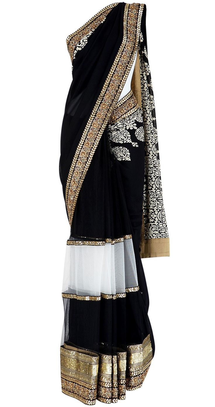gorgeous black and gold sab saree! Would never have a place to wear this but its beautiful