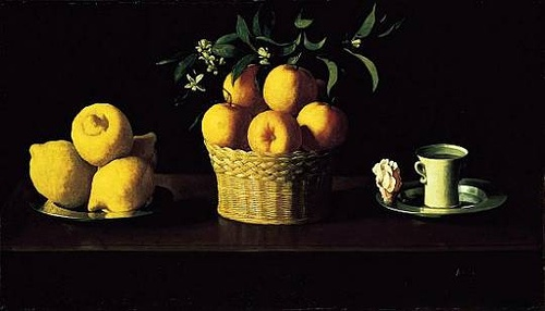 Francisco de Zurbaran's Still Life with Lemons, Oranges, and a Rose. I want a print of this in my house.
