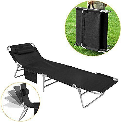 SoBuy® OGS35-Sch Chaise Longue Bain de soleil Transat de Jardin Pliant Chaise de Camping inclinable, pliable et réglable –Noir: SoBuy®…