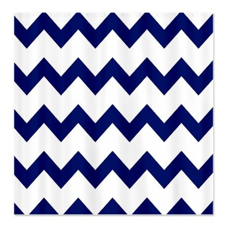 Navy Blue White Chevrons Shower Curtain