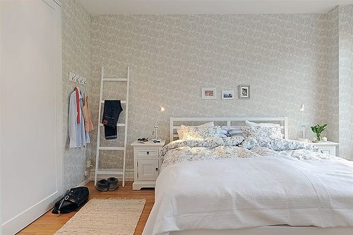 bedroom ladder: a ladder, pretty wallpaper, perfect bedroom