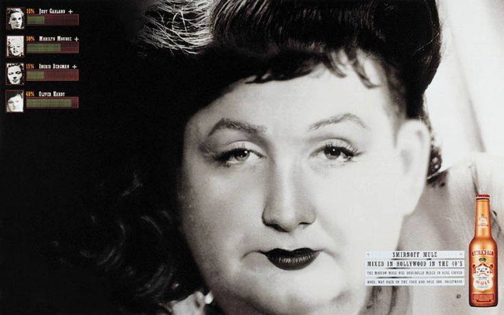 Read more: https://www.luerzersarchive.com/en/magazine/print-detail/smirnoff-mule-1612.html Smirnoff Mule 15% Judy Garland, 30% Marilyn Monroe, 15% Ingrid Bergmann, 40% Oliver Hardy. Smirnoff Mule. Mixed in Hollywood in the 40`s. Tags: DLKW Lowe, London,Sue Higgs,Shay Reading,Smirnoff Mule