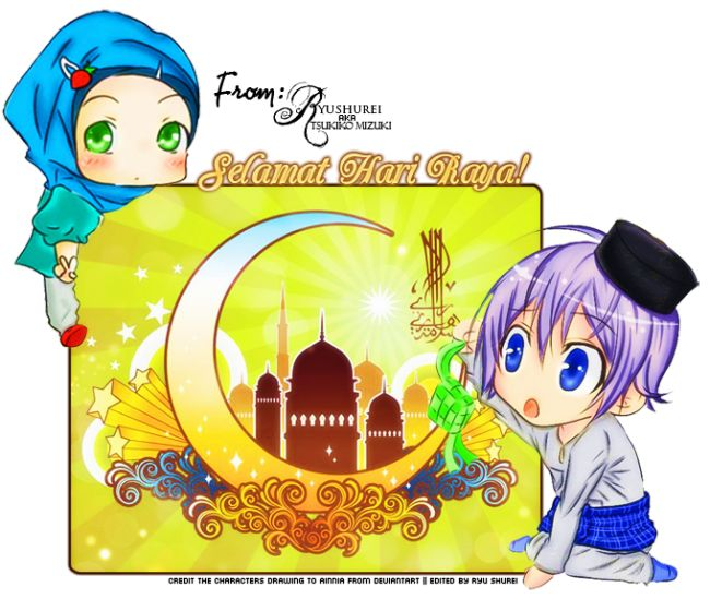 Chibi Selamat Hari Raya [Eid Greeting] Graphic