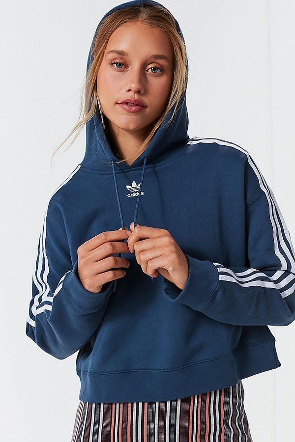 0bdd7d76b5d241 adidas Originals Adicolor 3 Stripes Cropped Hoodie Sweatshirt ...