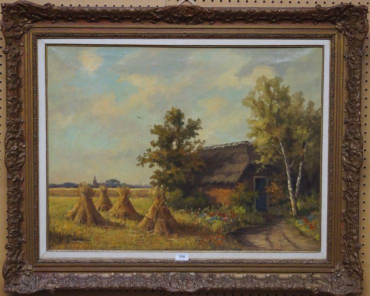 Willem J. Pasman (1905-1984), l.o. gesigneerd, olieverf op doek, zomers landschap met boerderij en korenschoven