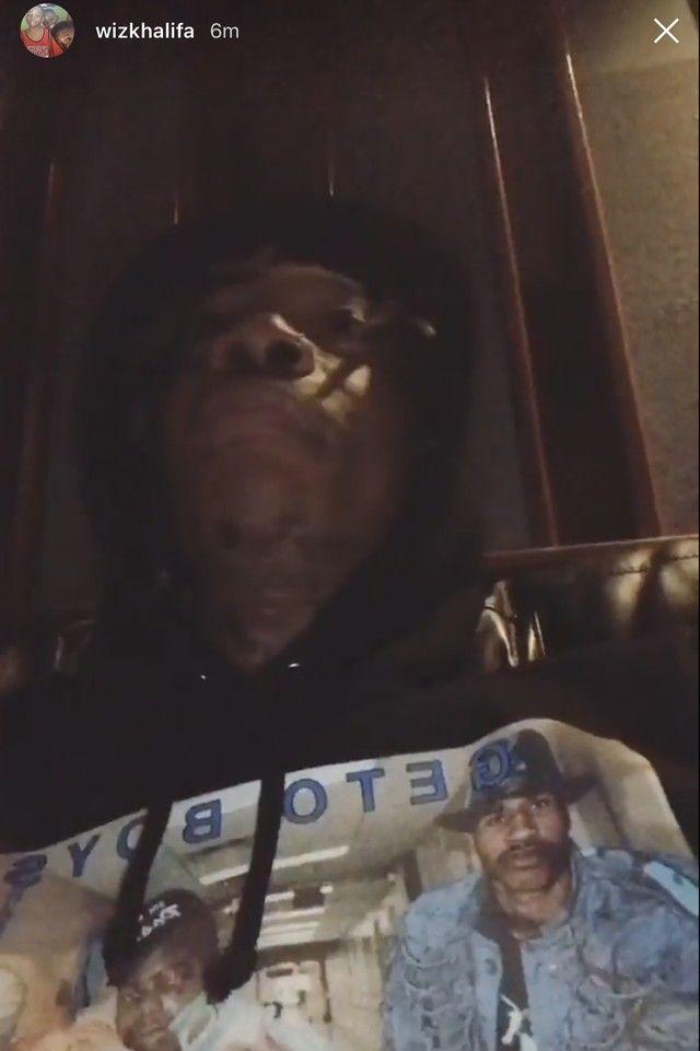 Wiz Khalifa wearing  Supreme Rap-A-Lot Records Geto Boys Hooded Sweatshirt