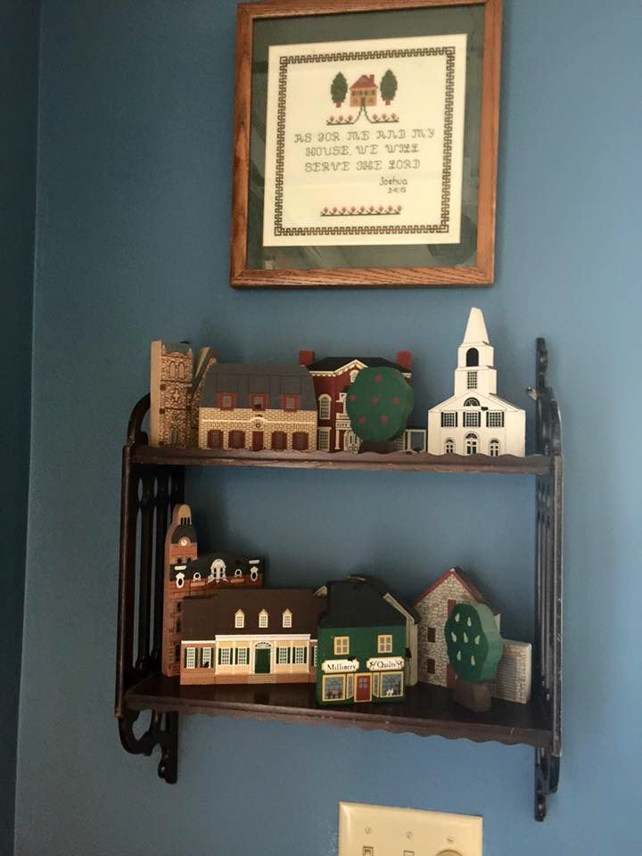 """Cat's Meow shelf sitters displayed on a double wall shelf in the home of Lynn (a """"professional"""" Cat's Meow collector)"""