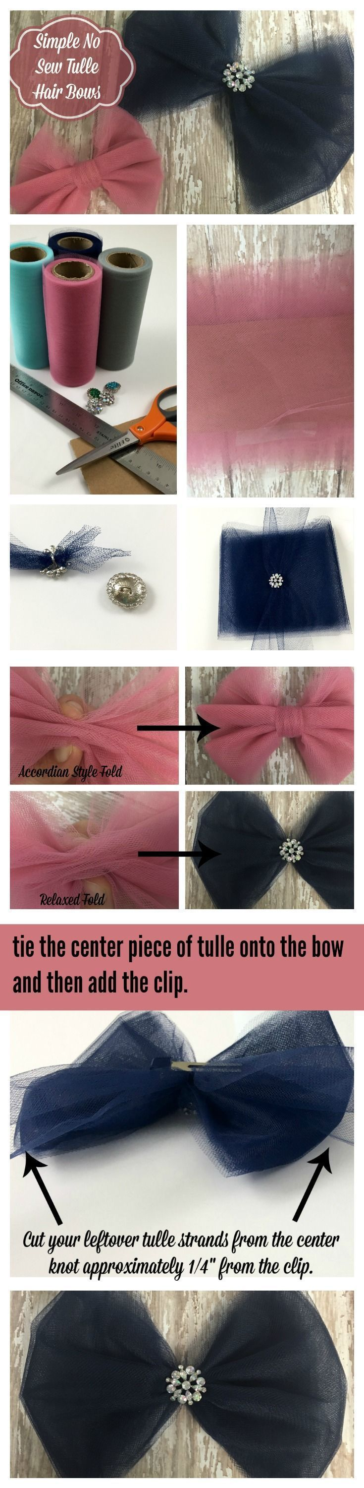 Tulle Hair Bows | How to make Tulle Bows in simple easy steps. No sewing required!