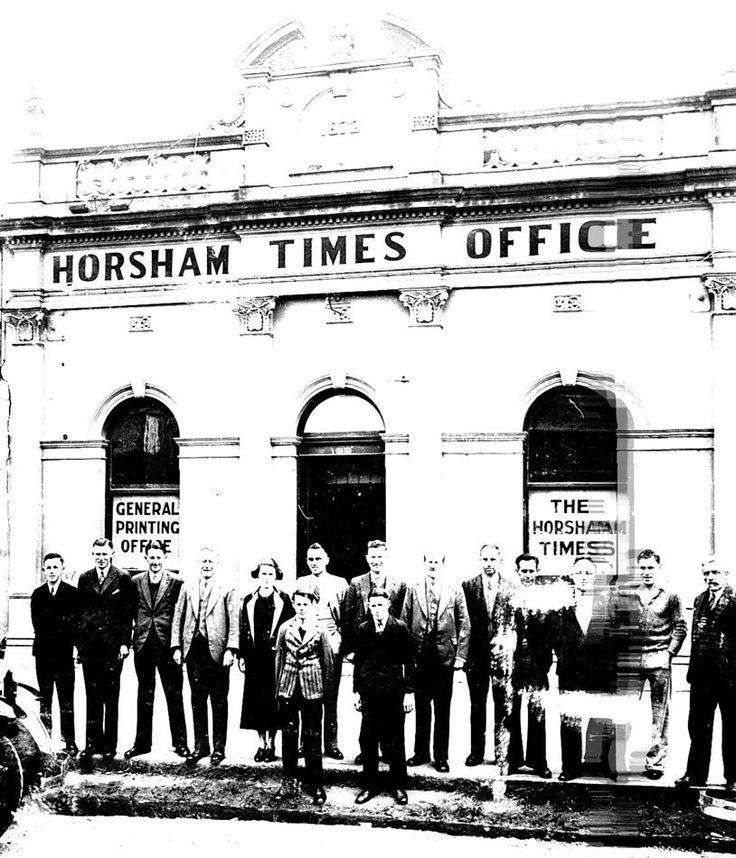 Staff in front of the 'Horsham Times' office in Wilson Street in 1936.