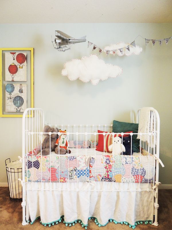 This is my favorite nursery though. Definitely look at the other pictures. So charming. It could definitely be skewed more boy, but so many elements are original and fun, without being Fisher Price. :) That plane!