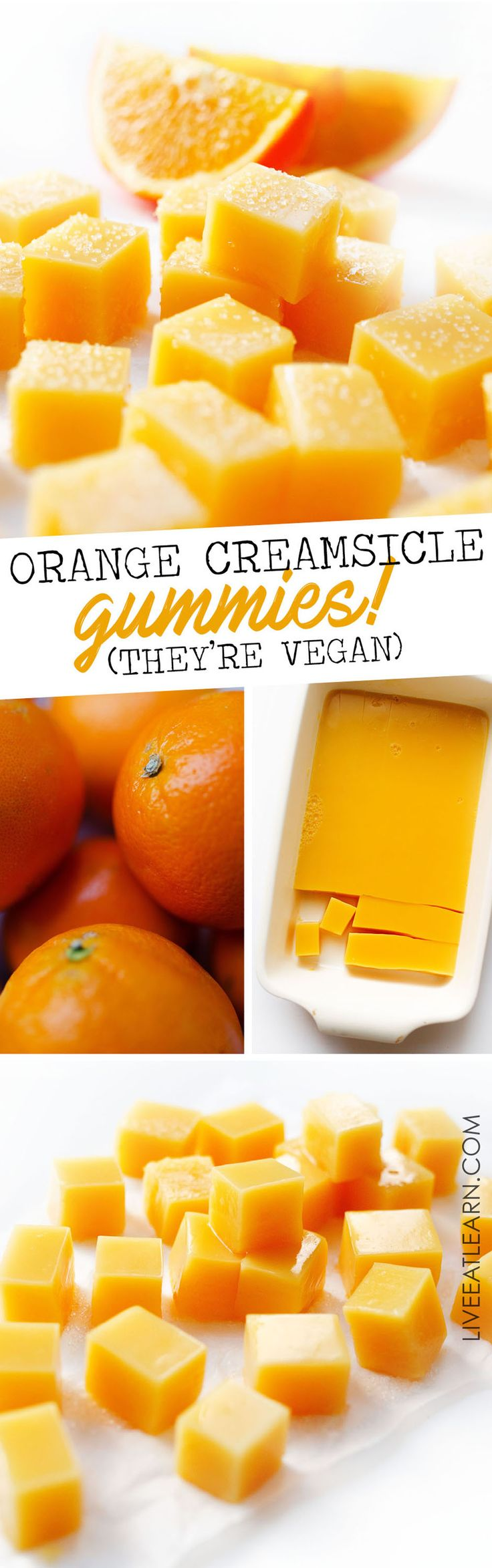 You can make your own vegan Orange Creamsicle Gummies at home with just a few ingredients. This vegan gummy recipe is a flavor-packed homemade candy idea that is healthy, fast, and delicious. #candy #healthycandy #vegancandy // Live Eat Learn