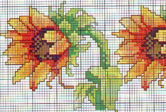 Schema punto croce Fiori Due girasoli