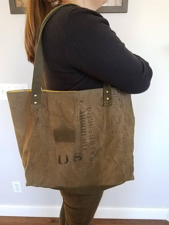 Vintage army duffle upcycled into a large bag
