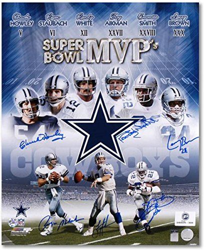 "Dallas Cowboys 6 Super Bowl MVPs Autographed 20"" x 24"" Photograph - Fanatics Authentic Certified - Autographed NFL Photos ** More info could be found at the image url."