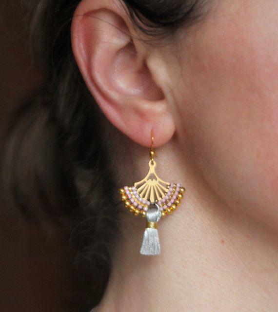Golden Fan Earrings Gold Filigree Earrings Ethnic Earrings