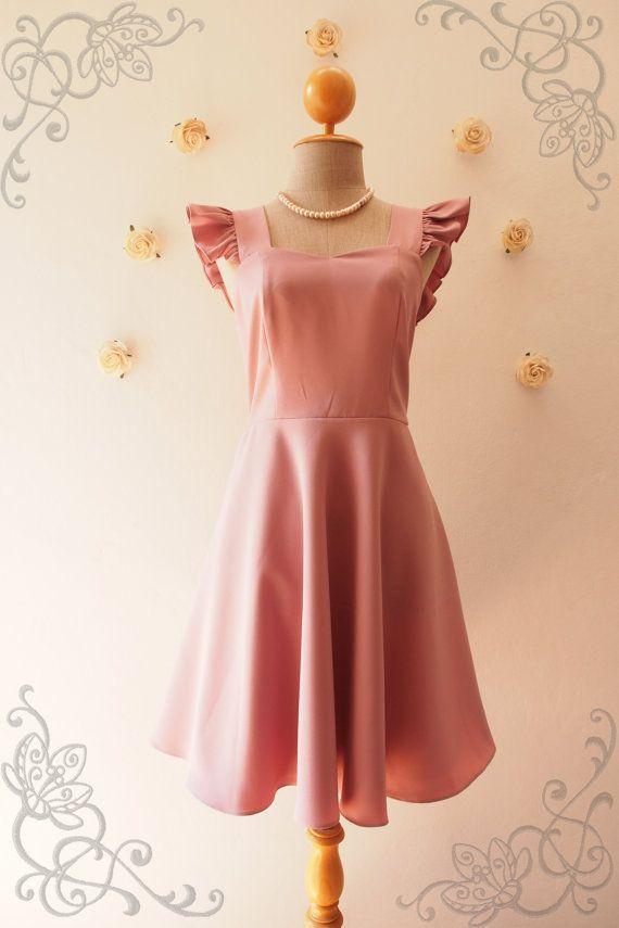 Olivia  Dusky Pink Bridesmaid Dress Dusky Pink Dress by Amordress