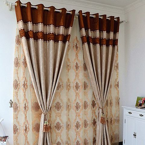 European Style Thickening Suede Embroidery Blackout Living Room Curtain  (Two Panels), Buy Multi
