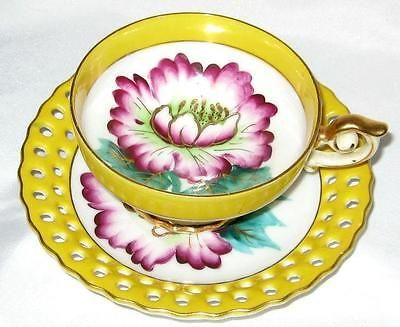 Occupied Japan YELLOW Open Edge Teacup PURPLE FLORAL HP Tea Cup and Saucer