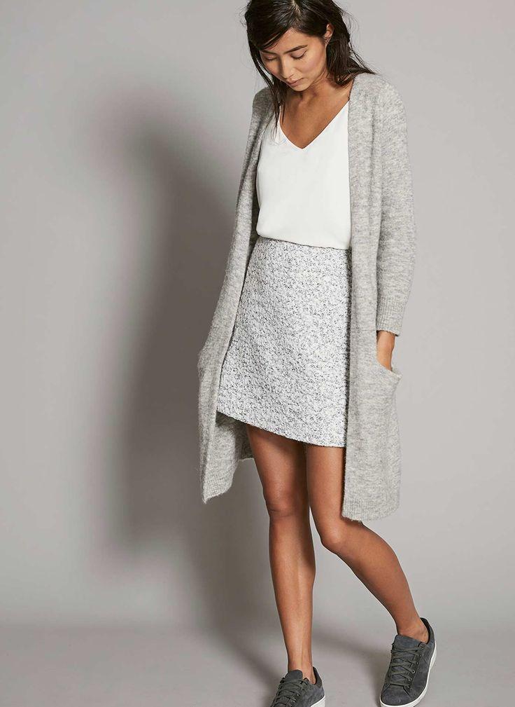 Silver Grey Fluffy Longline Cardigan