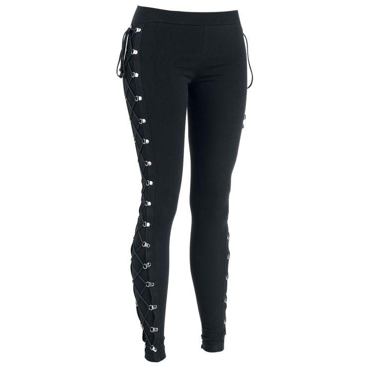 Yksinoikeudella EMP:ltä: mustat leggingsit toimivat aina. Gothicanan mustat Gothic Lady Lace -leggingsit ovat hyvä esimerkki: metallirenkaat ja sivunyöritykset tekevät niistä täydelliset leggingsit.