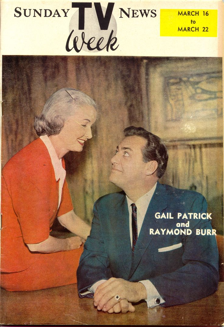 Perry Mason executive producer Gail Patrick with her star Raymond Burr.  Lancaster News, March 1958.  From the Jim Davidson Collection.
