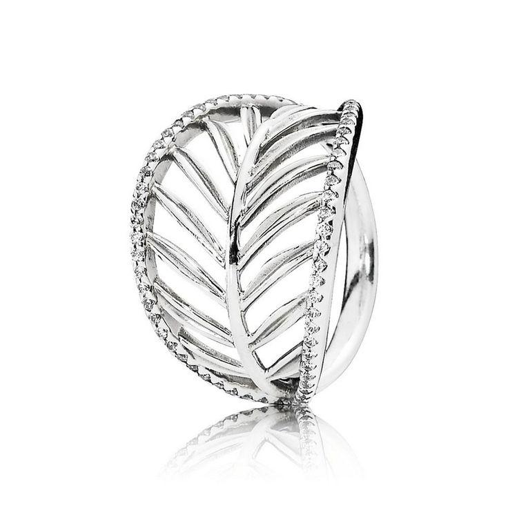 Tropical Palm Leaf Ring, Clear CZ - Pandora US | PANDORA eSTORE