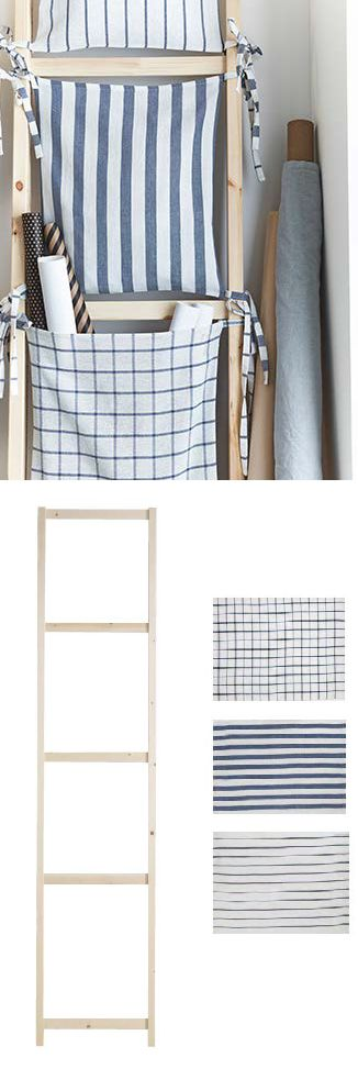 Old ladders or the sides of an IVAR bookcase can be fixed to the wall and used as storage units. Pockets, made from ELLY kitchen towels, are sewn together and tied to each rung to create a unique place to keep your things.
